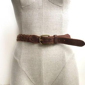 Vintage Braided Leather Belt Size Large